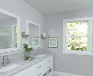 grey bathroom - decorating with grey paint.