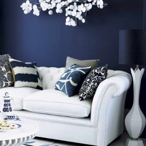 living-room - dark blue - shades of blue paint
