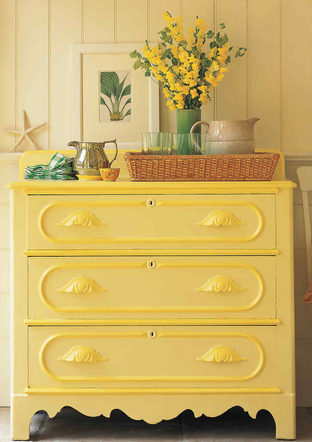 painted drawers - Decorating with Shades of Yellow Paint