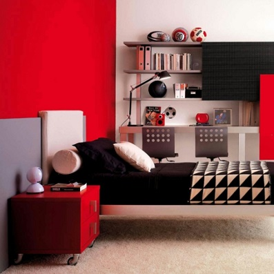 colour ideas for painting kids bedrooms - red for teen bedroom