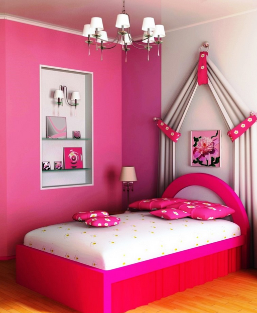 colour ideas for painting kids bedrooms - fuschia Pink
