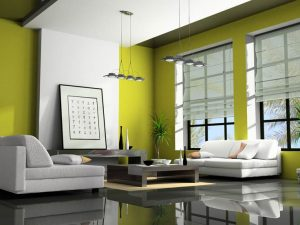 Shades of green and where to use them - CHartreuse living room