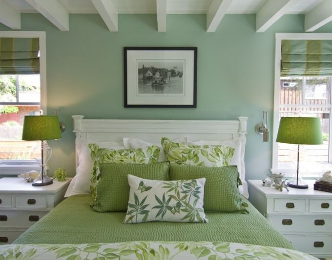 green walls and coverings - decorating ideas for the master bedroom
